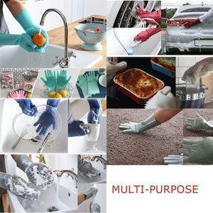 UNIVERSAL SILICONE CLEANING GLOVES WITH SCRUBBERS
