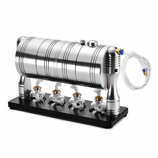 Steam Engine Model Kit Full Metal Steam Generator Steam Heating Boiler with 4 Alcohol Lamps