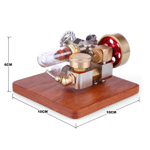 Mini Speed Adjustable Integrated Hot Air Stirling Engine Model with Wooden Base Science Experiment Educational Toy