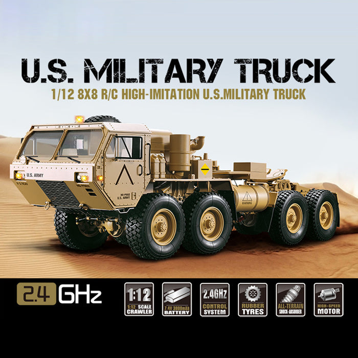 HG P802 1:12 2.4G RC Militray Truck 8x8 Remote Control Truck Model Heavy-duty Wheeled All Terrin Truck Kit - Sound and Light Version
