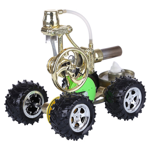 Hot Air Single Cylinder Stirling Engine Thermal Power Hybrid Car Model with LED Light