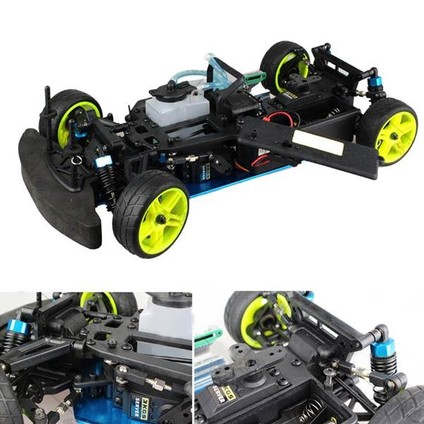 enginediy RC Car 1:10 HSP 94122 Drift RC Car Chassis Frame Kit with Engine Parts and Remote Control - Compatible with Toyan Engine