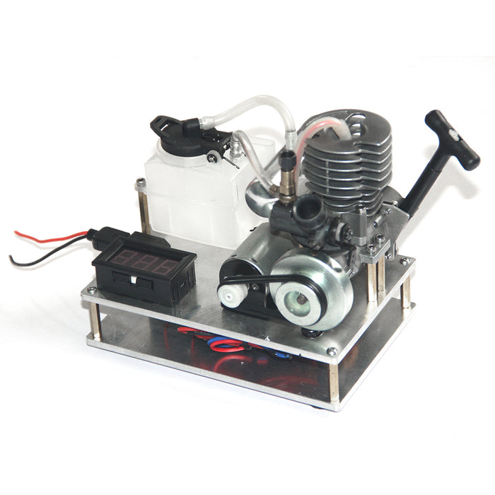 Single Cylinder 2 Stroke Nitro Engine 12V Generator Model Science Experiment Hand Start Model