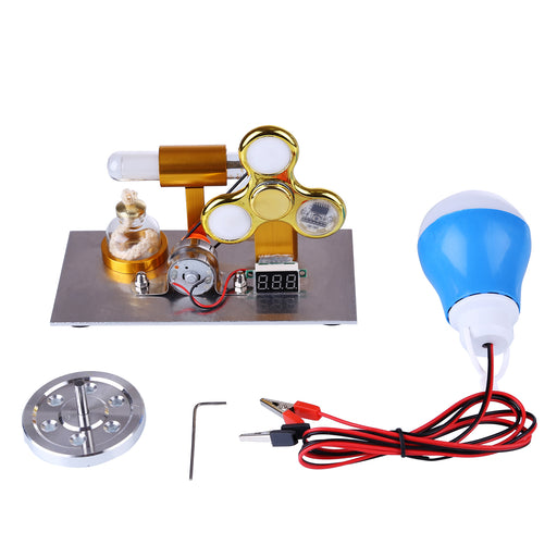 L-Shaped Stirling Engine Model with Voltage Digital Display Meter Gyroscopes and Bulb Science Experiment STEM Educational Model Collection - enginediy