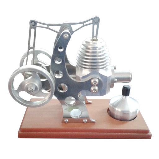 enginediy Single Cylinder Stirling Engine Balance Stirling Engine Model External Combustion Engine with Wood Base for Gift Collection