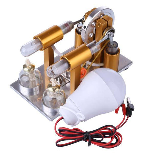 enginediy Multi-Cylinder Stirling Engine 2 Cylinder Stirling Engine Model Physics Experiment Generator with Bulb