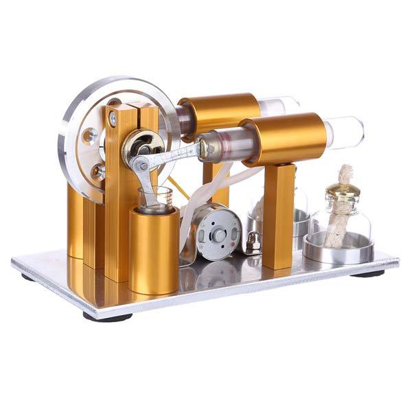 2 Cylinder Stirling Engine Model Physics Experiment Generator with Bulb - enginediy