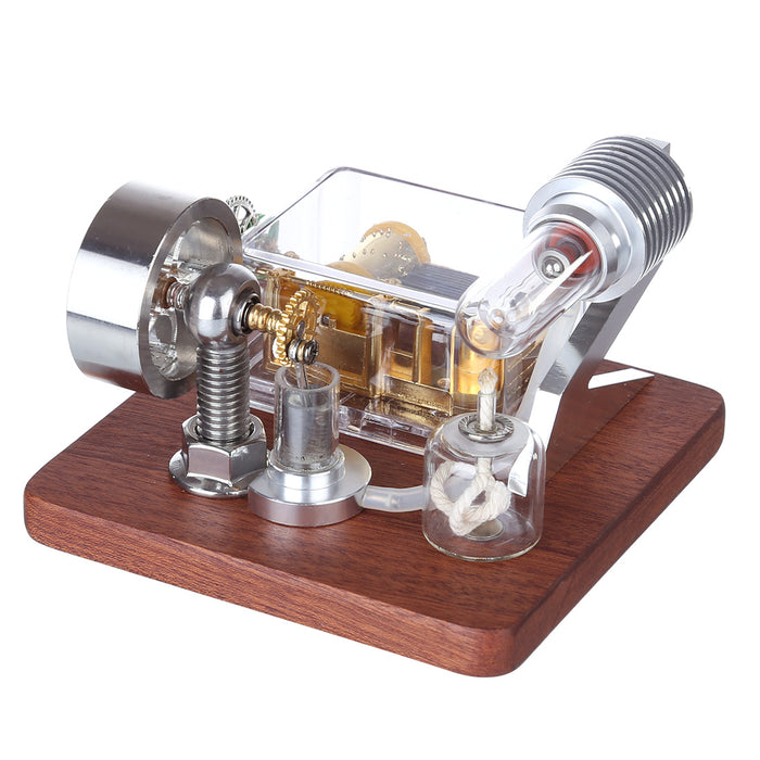 Stirling Engine Model with Rotating Mechanical Music Box Science Experiment Engine Toy - enginediy