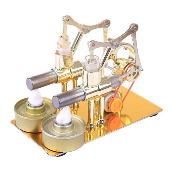 enginediy Multi-Cylinder Stirling Engine 2 Cylinder Stirling Engine Electricity Generator with Bulb Stirling Engine Motor Model - Enginediy