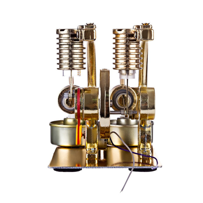 enginediy Multi-Cylinder Stirling Engine Stirling Engine L-Shape Two Cylinder Stirling Engine External Combustion Engine with Big Bulb