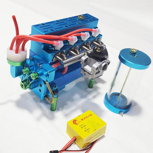 32cc Inline Four Cylinder Water Cooled Gasoline Engine for 1: 5 RC Model Car / Ship - Blue