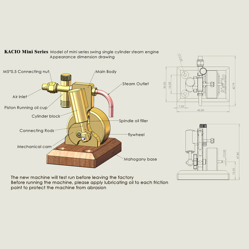 Mini Single Cylinder Swing Steam Engine Model without Boiler