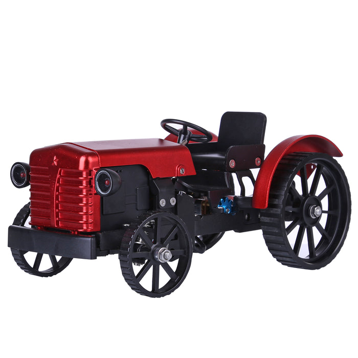 Teching Mini APP RC Tractor  Metal Romote Control Model Tractor in Red DIY Assembly Kit Educational Toy Gifts Collection - Enginediy