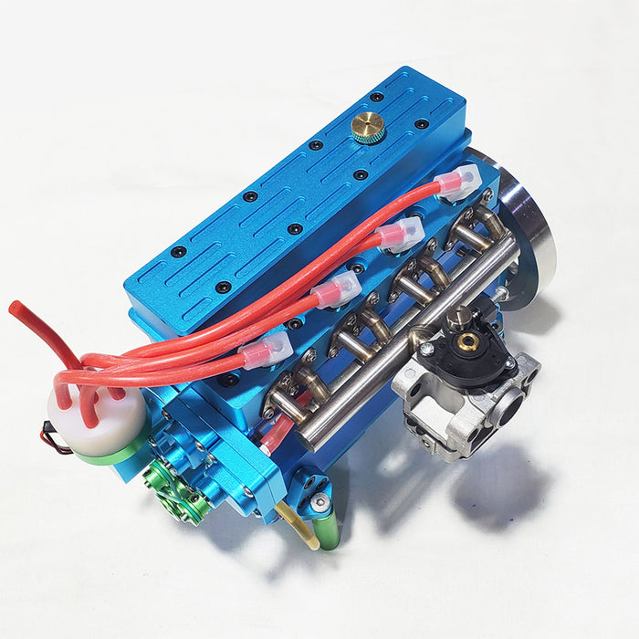 32cc Inline Four Cylinder Water Cooled Gasoline Engine for 1: 5 RC Model Car / Ship - Blue - enginediy