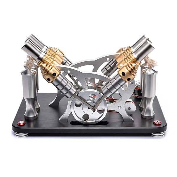 4 Cylinder Stirling Engine V4 Stirling Engine Electricity Generator Kit for Gift Collection - enginediy