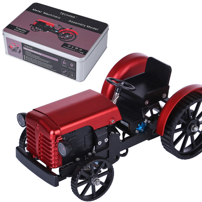 Teching Mini APP RC Tractor  Metal Romote Control Model Tractor in Red DIY Assembly Kit Educational Toy Gifts Collection - Enginediy - enginediy