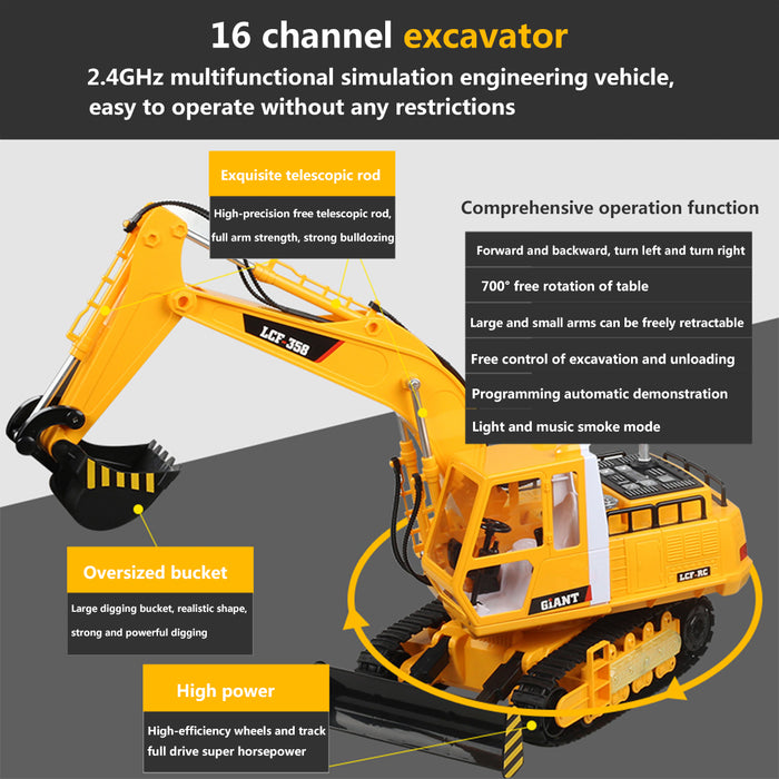 LCF 1:16 2.4GHz 16CH RC Excavator Multifunctional Excavator Grab RC Construction Vehicle Model with Smoke Effect Unique Toys Gift for Kids, Teens and Adults - enginediy