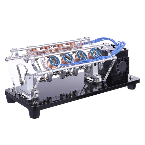 V8 Electromagnetic Engine 5V 4W 8 Coils High Speed V-Shaped Automobile Engine Model for Gift Collection - enginediy