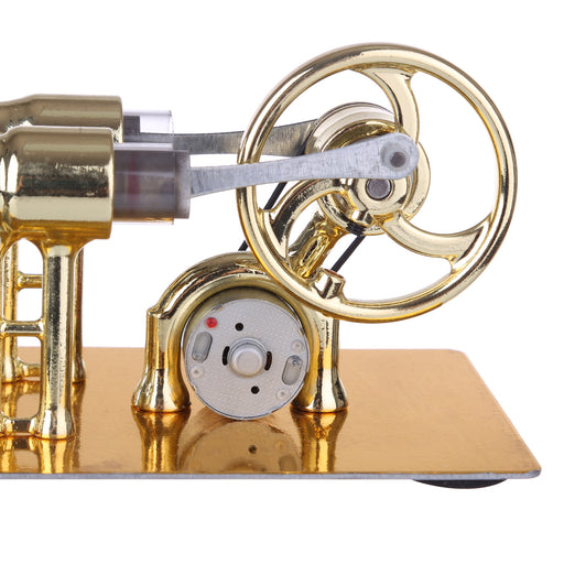 Gamma Stirling Engine γ-Type Single Cylinder Engine Generator Model with LED Diode and Bulb  Science Experiment Teaching Model Collection - enginediy