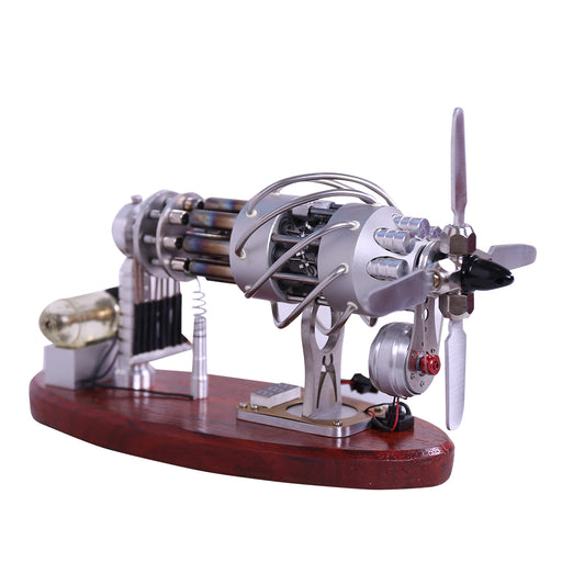 New 16 Cylinder Stirling Engine Swash Plate Gas Powered Stirling Generator with Voltage Display and LED - Enginediy