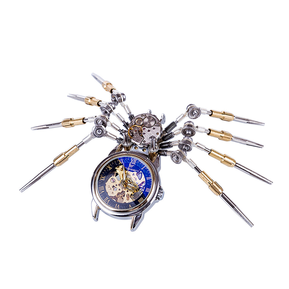 3D Puzzle Model Kit Spider Shaped Mechanical Clock Model  Creative Gift - enginediy