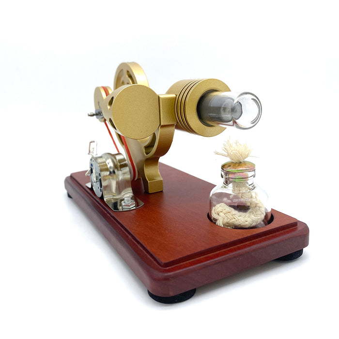 Y-Shape Stirling Engine Generator Model Retro Science Educational Toy with LED Lights