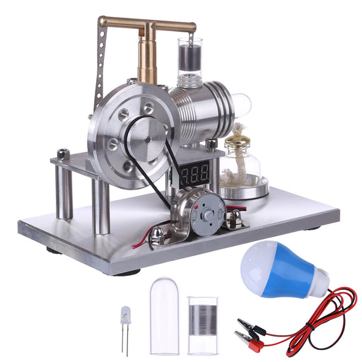 Custom Balance Type Hot Air Stirling Engine Generator Model with Voltage Digital Display Meter and LED Bulb
