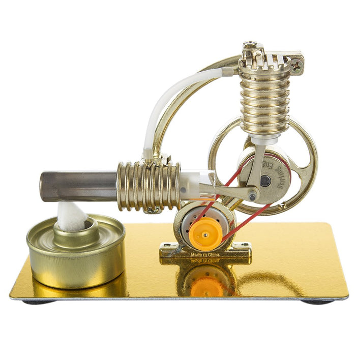 Stirling Engine L-Shape Single Cylinder Stirling Engine Generator Model with Big Bulb - enginediy