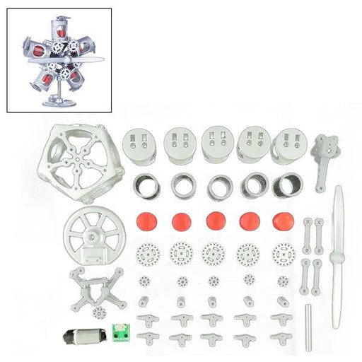 enginediy Engine Models Kit Version 5 Cylinder Engine Kit Star-shaped 5V USB Powered Motor Model Stem Toy
