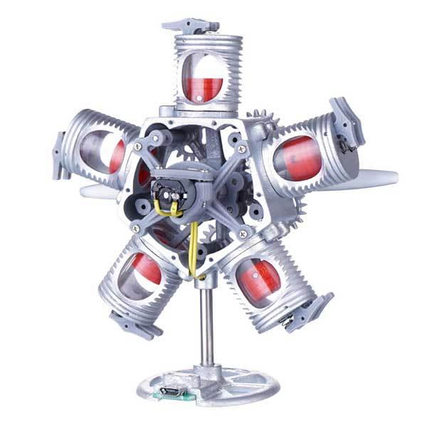 5 Cylinder Radial Engine Kit 5V USB Powered Motor Model Stem Toy - enginediy