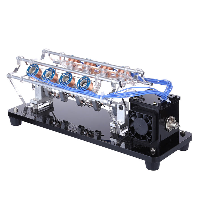 V8 Electromagnetic Engine 5V 4W 8 Coils High Speed V-Shaped Automobile Engine Model for Gift Collection
