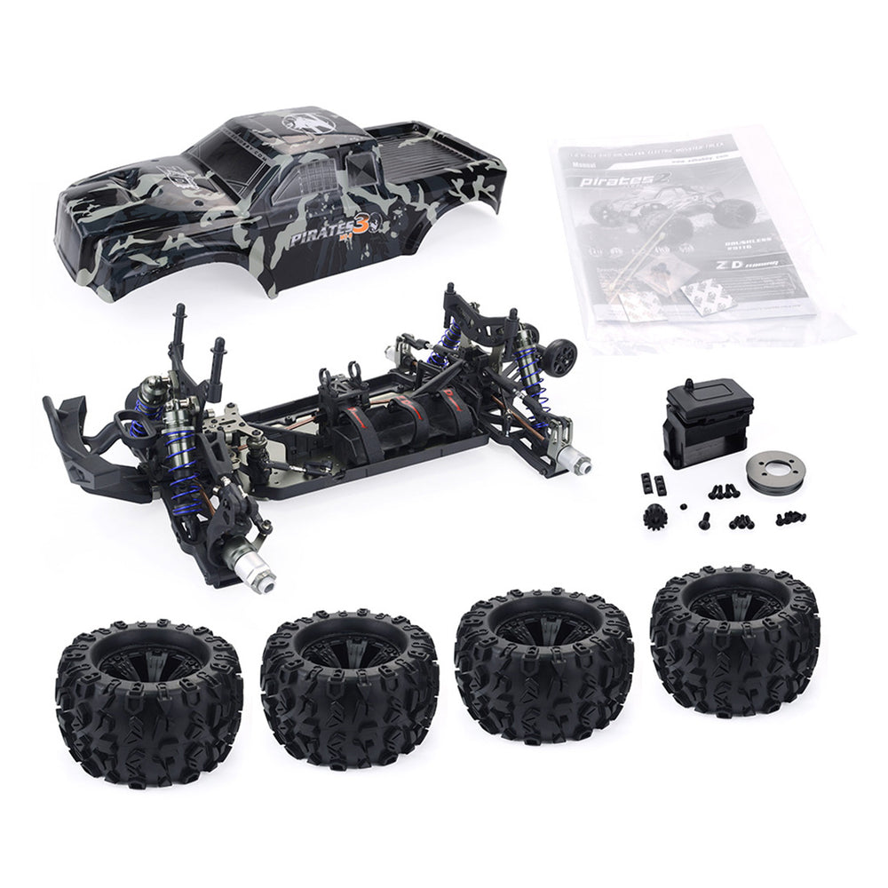 ZD Racing MT8 Pirates3 1/8 4WD 90km/h DIY Monster Truck Car Frame Kit - KIT Version