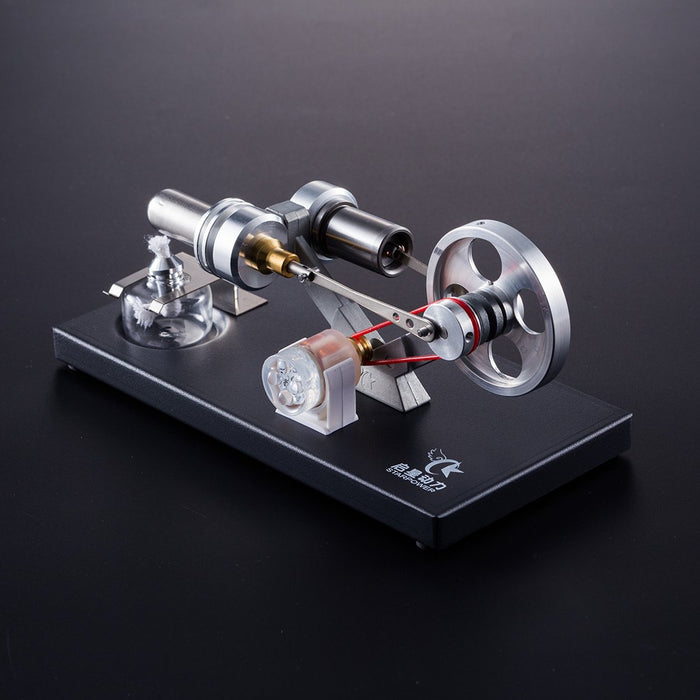 enginediy Stirling Engine with LED Stirling Engine Model Stirling Engine Electricity Power Generator 4 LED Light Education Toy