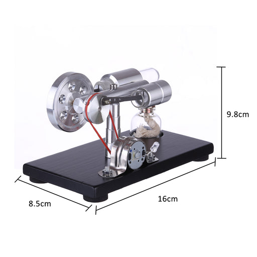 γ-shape Stirling Engine Generator Model with LED Lights Voltage Digital Display Meter Science Educational Model STEM Collection - enginediy