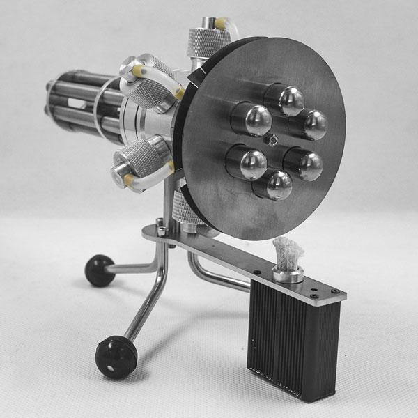 enginediy Multi-Cylinder Stirling Engine 6 Cylinder Stirling Engine Novel Gatling Blaster Design Engine Motor Model - Enginediy
