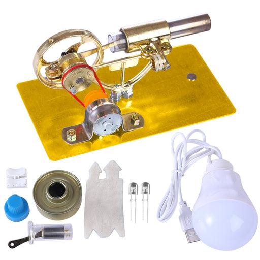 Mini Stirling Engine DIY Model With Electricity Generator Bulb Physical Educational Toy Gift - enginediy