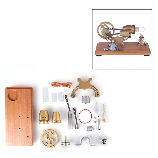 γ-shape Stirling Engine Generator Model Assembly Kit with LED Lights Retro Science Educational Model Collection - enginediy