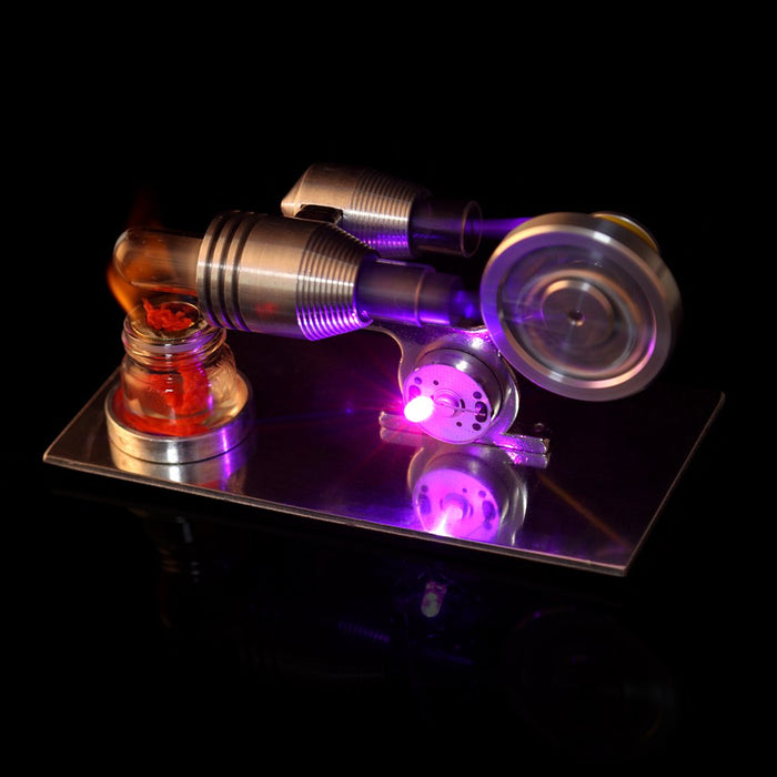 Stirling Engine Model with Electricity Generator - Light Up Colorful LED Enginediy - enginediy