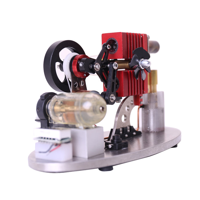 α Type Double Cylinder Stirling Engine Generator Model with LED Lamp Beads, Voltage Display Meter, Double Piston Rocker Arm Linkage - enginediy