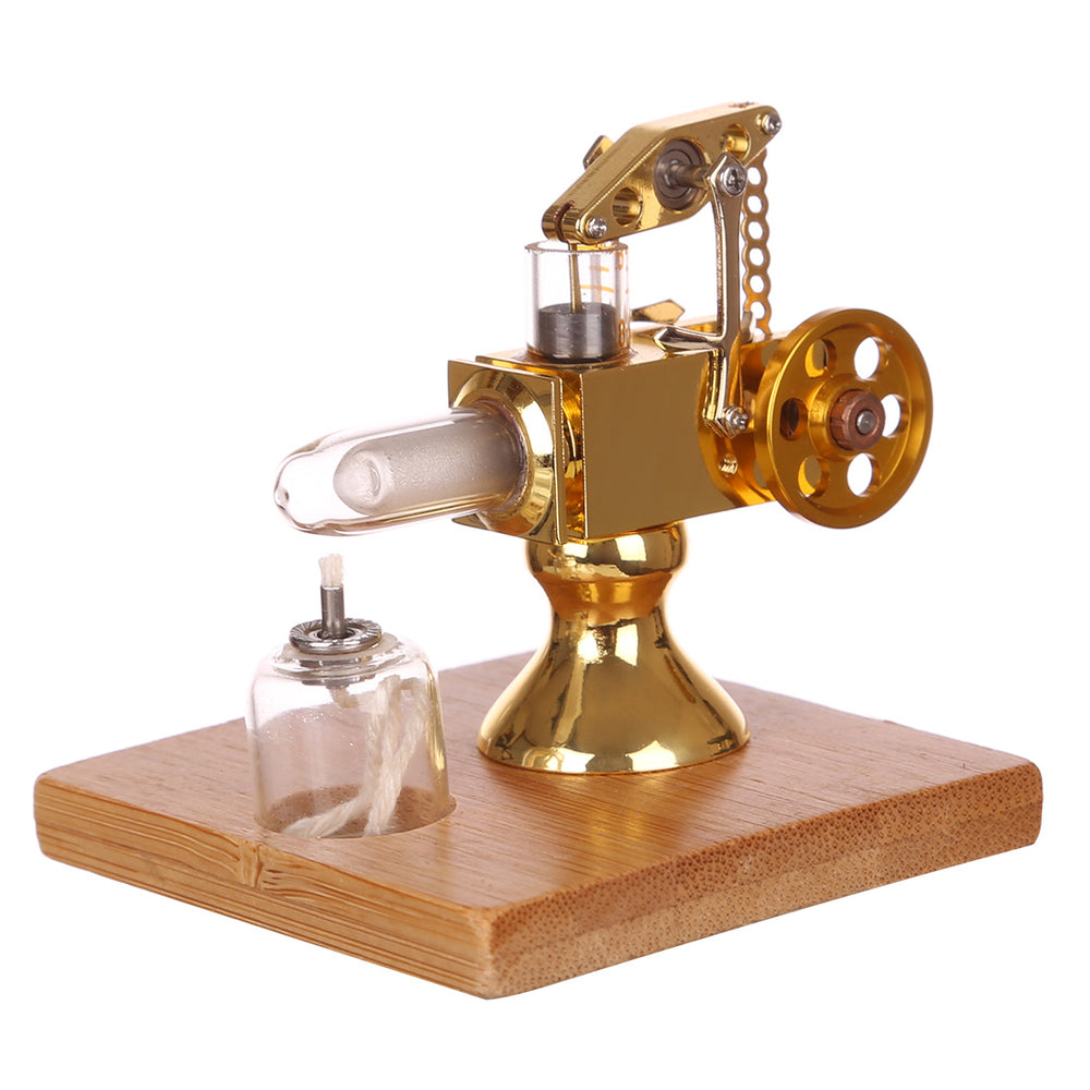 Mini Balance Type Stirling Engine Model with Quartz Hot Cylinder  and Solid Wood Base - Golden