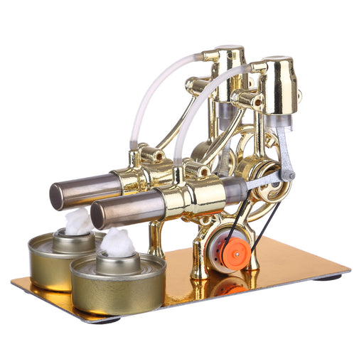 L-Type 2 Cylinder Stirling Engine Generator Model with LED Diode and Bulb Science Experiment Teaching Model Toy Collection - enginediy