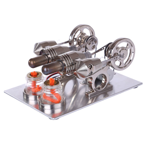 2 Cylinder Stirling Engine Model with Voltage Digital Display Meter Bulb Physical Experiment Hot Air Stirling Engine Generator