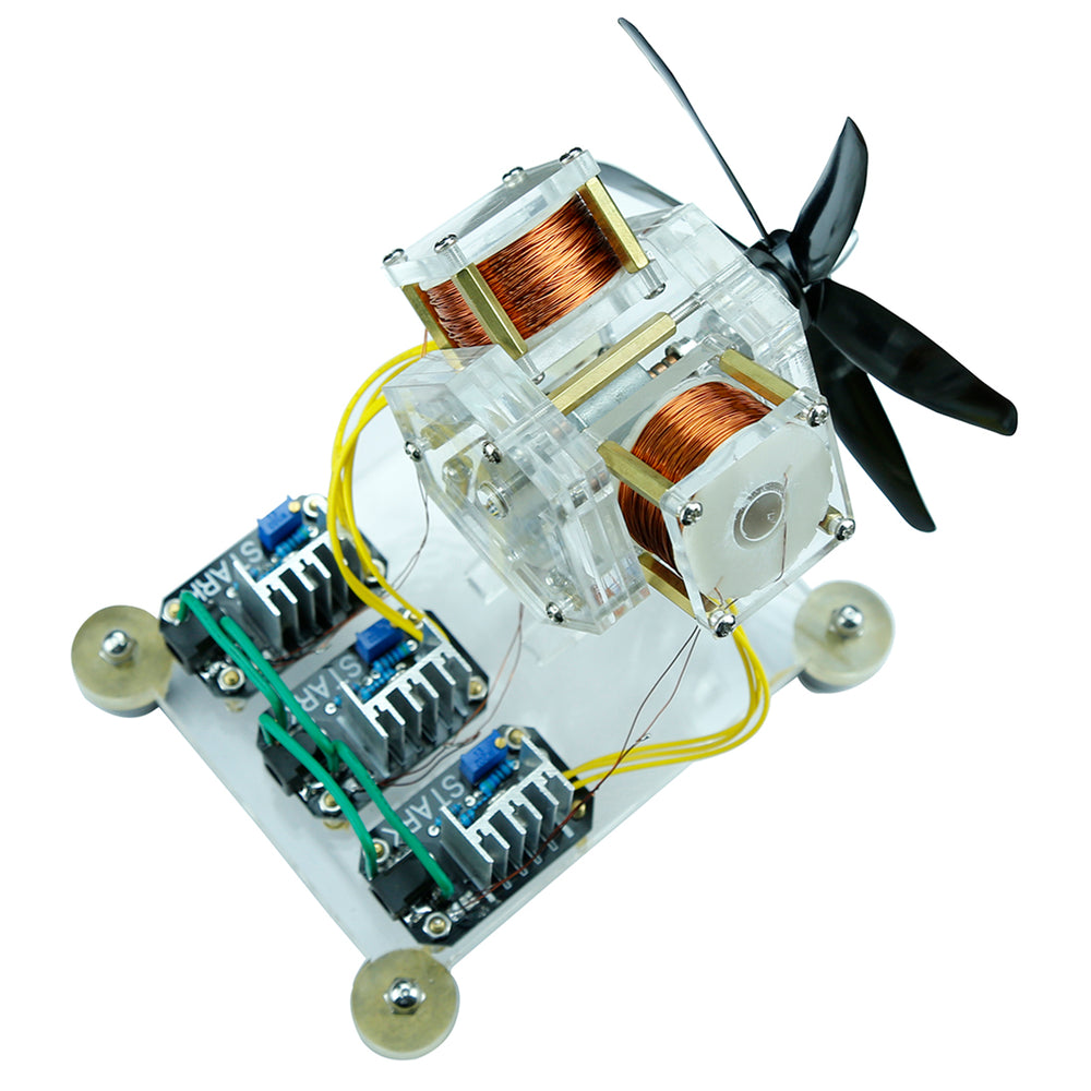 Stark 12V 6W Brushless Motor Hall Sensor Electric Machine Triple Coil Fan Blade High Speed DIY Physical Model with Booster Line - enginediy