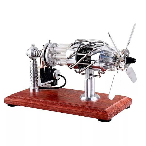 enginediy Multi-Cylinder Stirling Engine 16 Cylinder Stirling Engine Model Gas Powered Engine with Quartz Tube Collection Gift for Engineer