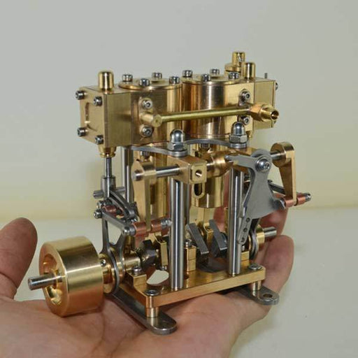 enginediy 2 Cylinder Marine Steam Engine Reciprocating All Copper Steam Engine Gift Collection