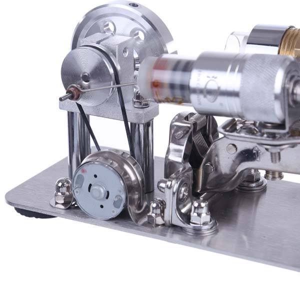 enginediy Stirling Engine with LED Hot Air Stirling Engine Motor Model Brass Cylinder Electricity Generator Stem Toy