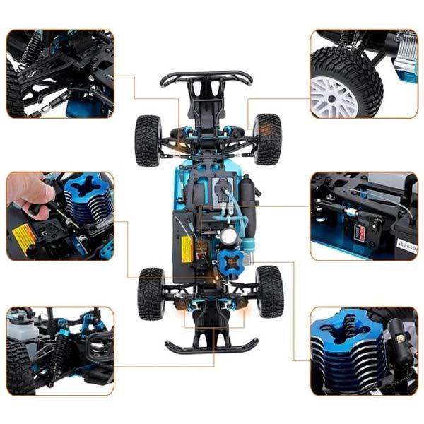 enginediy RC Car HSP 94155 RC Car 1/10 Scale 4WD Nitro Gas Powered Off-Road Buggy Truck Vehicle