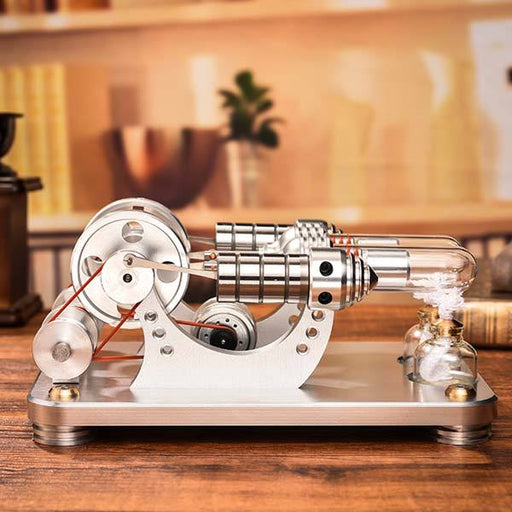 enginediy Multi-Cylinder Stirling Engine Hot Air Stirling Engine 2 Cylinder Colorful LED Education Toy Electricity Generator Model (M14-22-D)