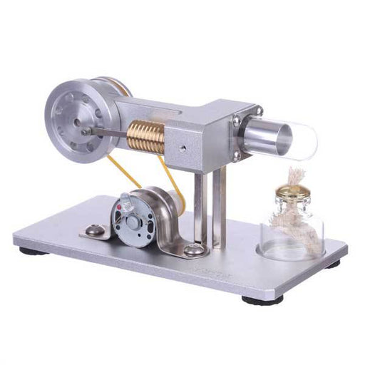 enginediy Stirling Engine with LED Mini Hot Air Stirling Engine Motor Model Physics Experiment Educational Toy Kit with LED Light