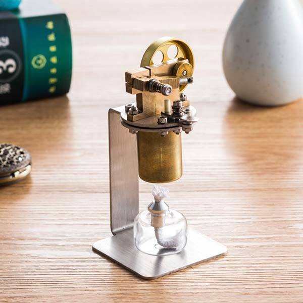 enginediy Steam Engine Mini Steam Engine Kit Vertical Single Cylinder Alcohol Lamp Heating Steam Engine Toy